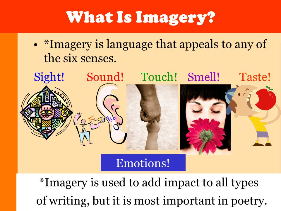 What Is Imagery. *Imagery is language that appeals to any of the six senses.