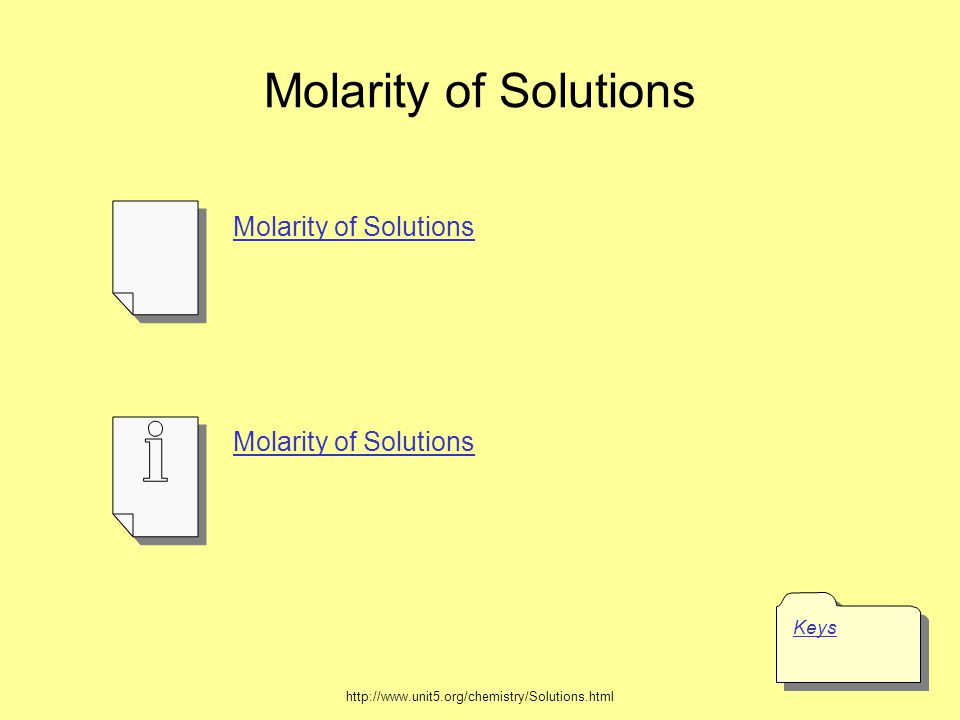 Molarity of Solutions Keys Molarity of Solutions