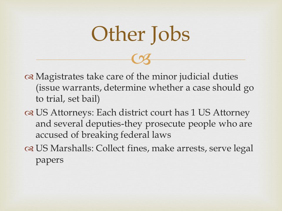   Magistrates take care of the minor judicial duties (issue warrants, determine whether a case should go to trial, set bail)  US Attorneys: Each di