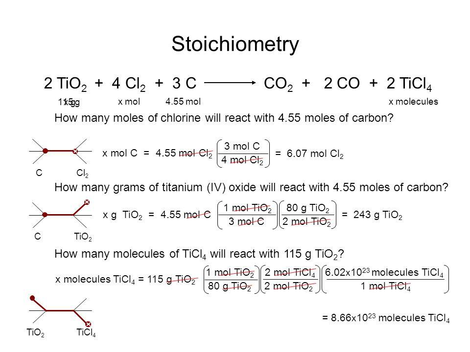 Stoichiometry 2 TiO 2 + 4 Cl 2 + 3 CCO 2 + 2 CO + 2 TiCl 4 4.55 molx mol CCl 2 x mol C = 4.55 mol Cl 2 4 mol Cl 2 = 6.07 mol Cl 2 3 mol C CTiO 2 x mol
