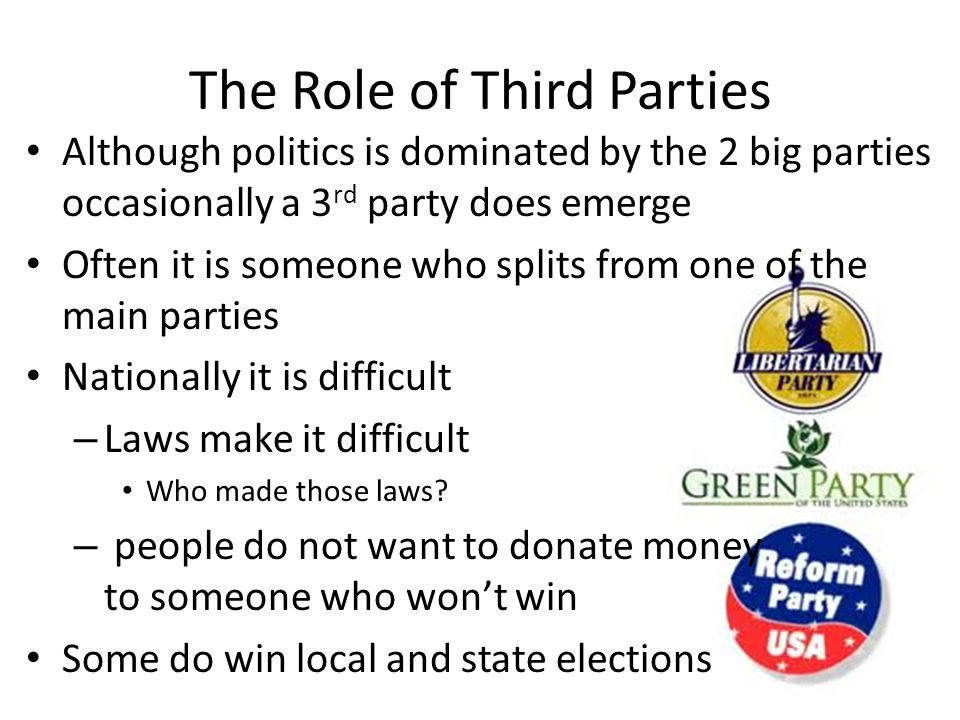 The Role of Third Parties Although politics is dominated by the 2 big parties occasionally a 3 rd party does emerge Often it is someone who splits from one of the main parties Nationally it is difficult – Laws make it difficult Who made those laws.