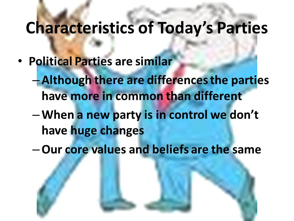 Characteristics of Today's Parties Party Organization – Both parties have local, state, and national organizations – These are independent of each other