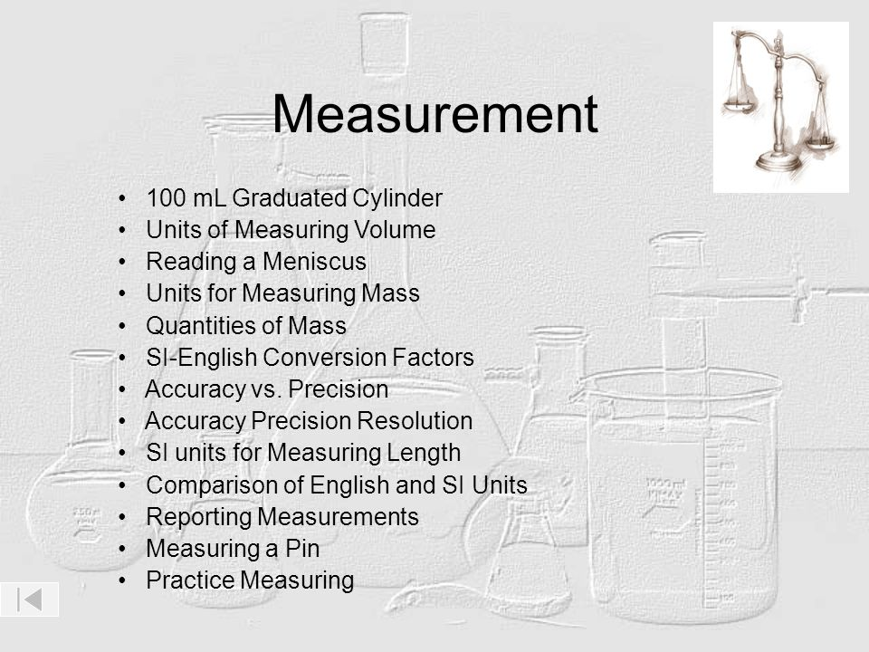 Measurement 100 mL Graduated Cylinder Units of Measuring Volume Reading a Meniscus Units for Measuring Mass Quantities of Mass SI-English Conversion F