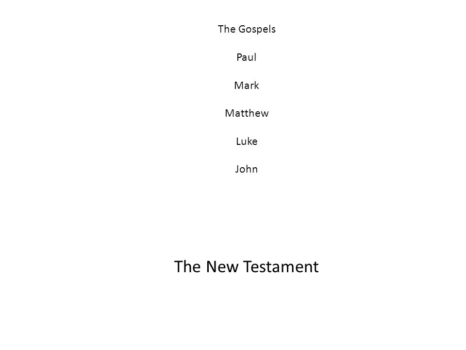 The Gospels Paul Mark Matthew Luke John The New Testament