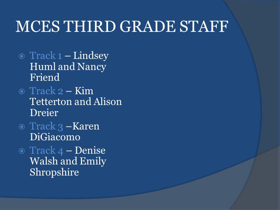 MCES THIRD GRADE STAFF  Track 1 – Lindsey Huml and Nancy Friend  Track 2 – Kim Tetterton and Alison Dreier  Track 3 –Karen DiGiacomo  Track 4 – Denise Walsh and Emily Shropshire