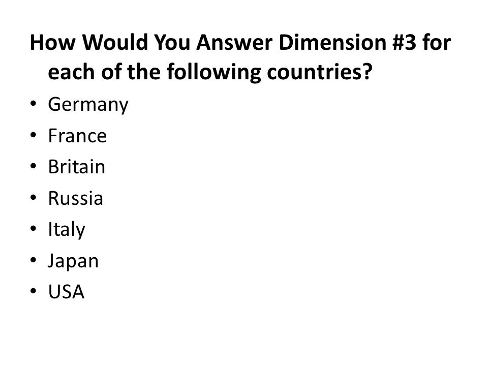 How Would You Answer Dimension #3 for each of the following countries.