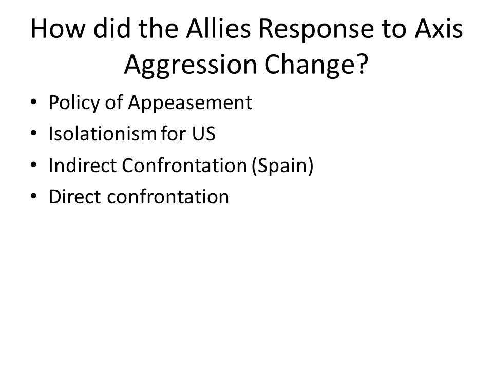 How did the Allies Response to Axis Aggression Change.