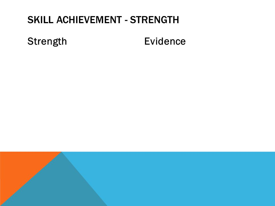 StrengthEvidence SKILL ACHIEVEMENT - STRENGTH