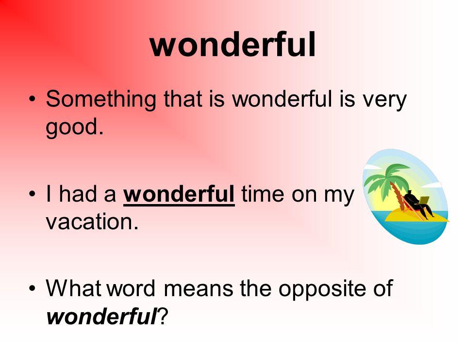 wonderful Something that is wonderful is very good.