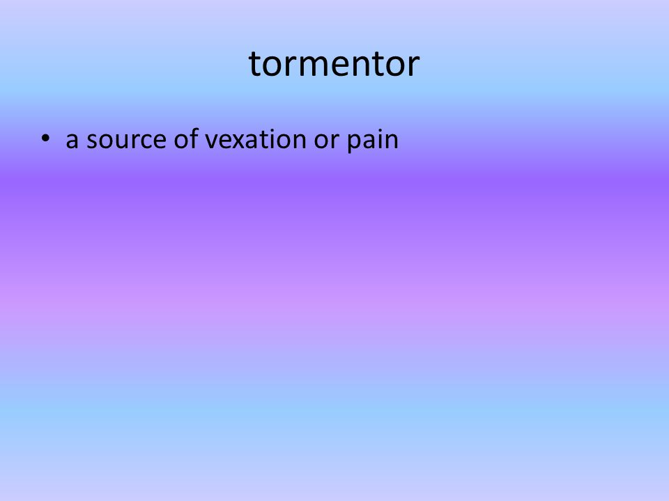 tormentor a source of vexation or pain