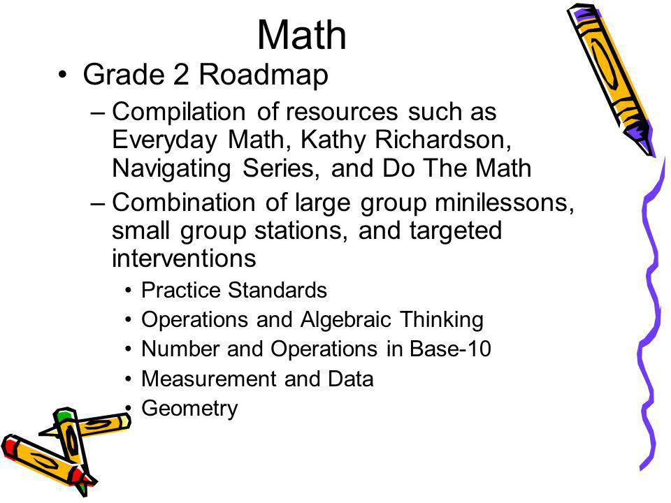 Math Grade 2 Roadmap –Compilation of resources such as Everyday Math, Kathy Richardson, Navigating Series, and Do The Math –Combination of large group minilessons, small group stations, and targeted interventions Practice Standards Operations and Algebraic Thinking Number and Operations in Base-10 Measurement and Data Geometry
