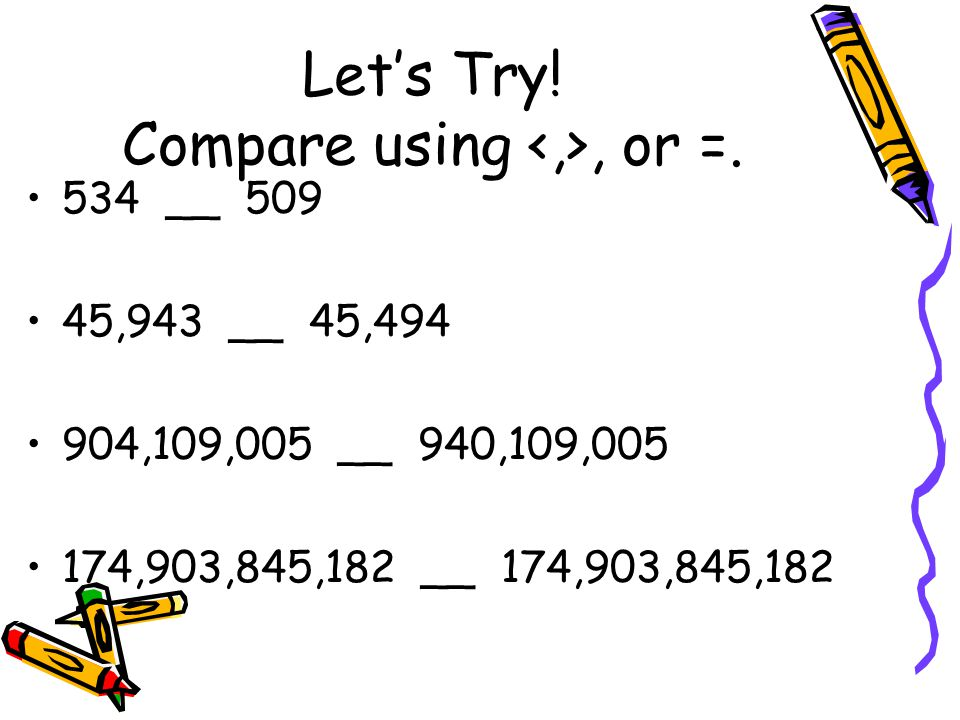 Let's Try. Compare using, or =.