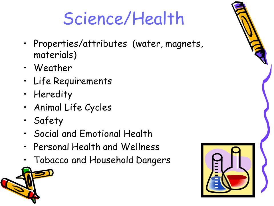 Science/Health Properties/attributes (water, magnets, materials) Weather Life Requirements Heredity Animal Life Cycles Safety Social and Emotional Hea