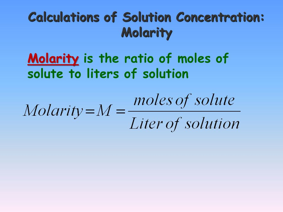 Preparation of Molar Solutions Problem: How many grams of sodium chloride are needed to prepare 1.50 liters of 0.500 M NaCl solution.