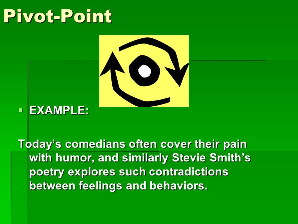 Pivot-Point  EXAMPLE: Today's comedians often cover their pain with humor, and similarly Stevie Smith's poetry explores such contradictions between feelings and behaviors.