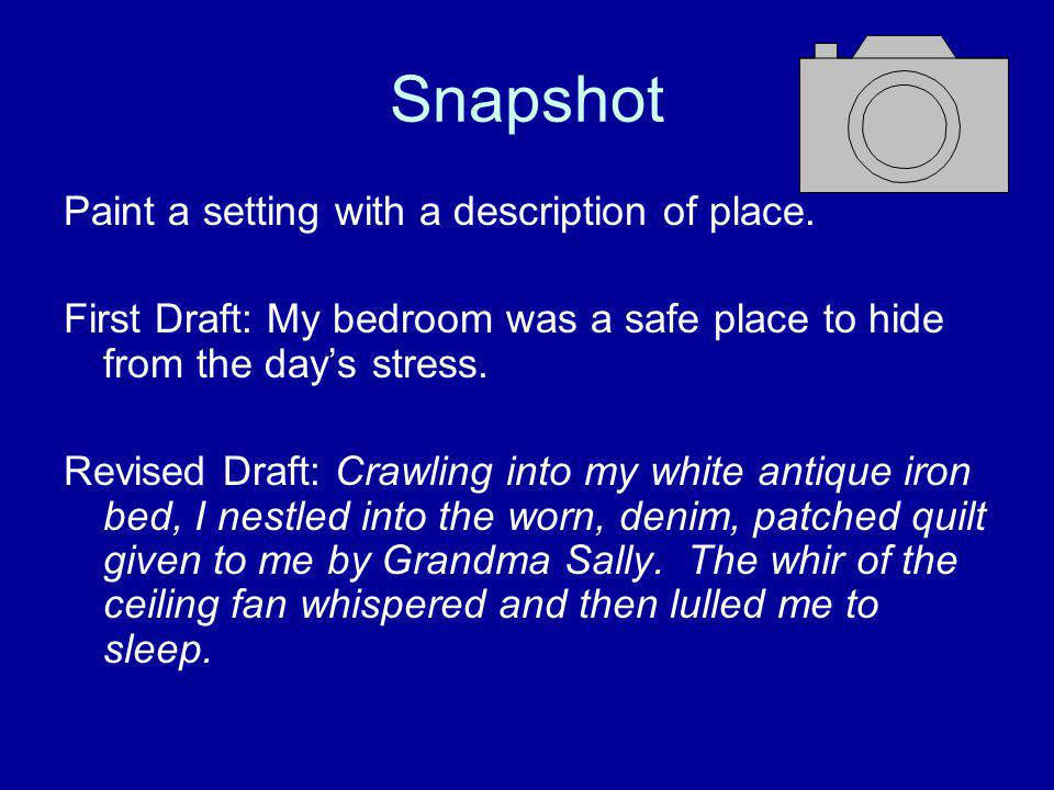 Snapshot Paint a setting with a description of place.
