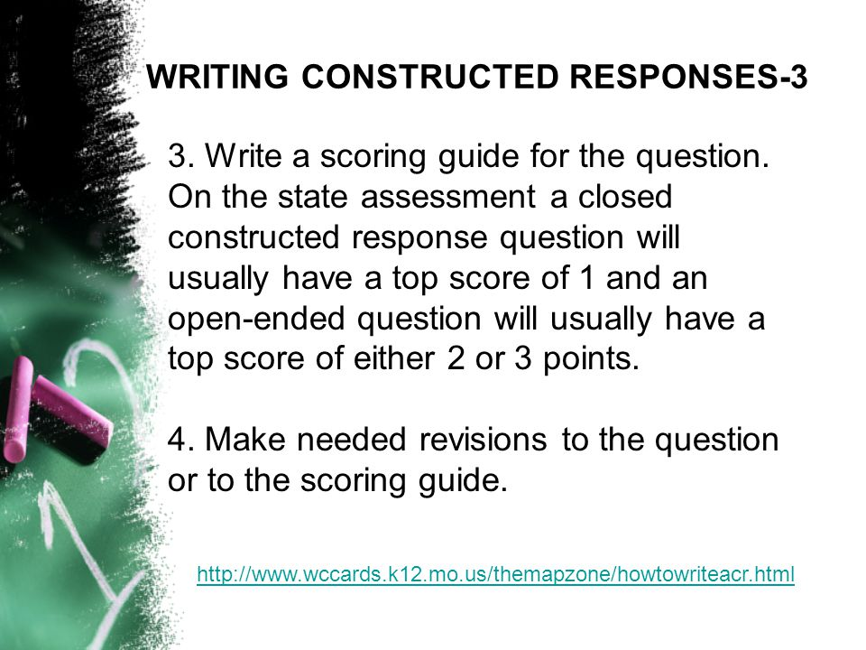 3. Write a scoring guide for the question.