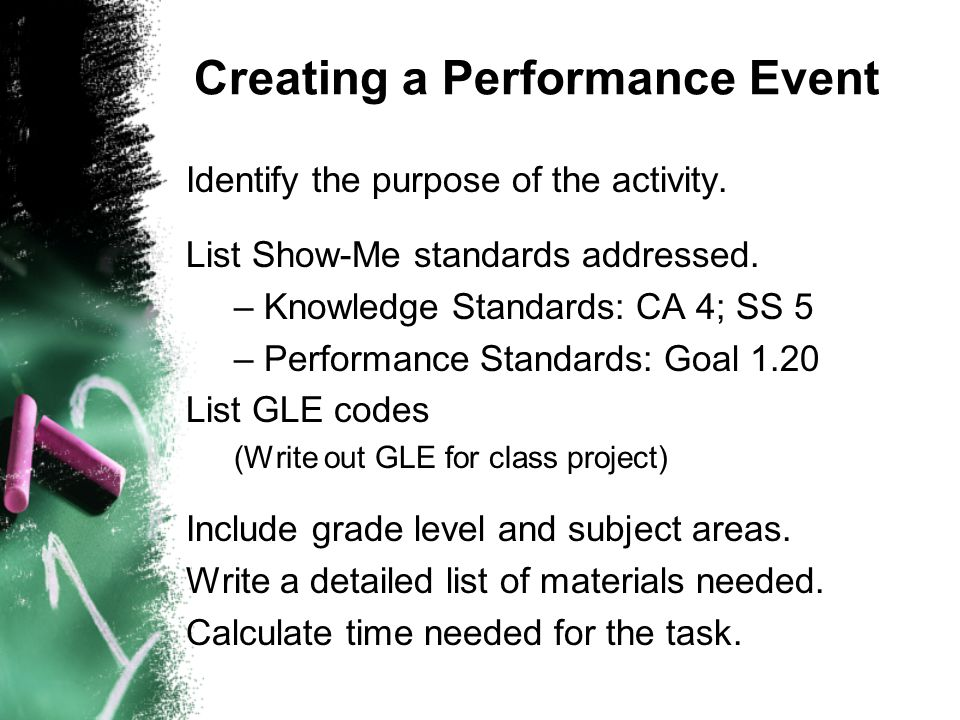 Creating a Performance Event Identify the purpose of the activity.