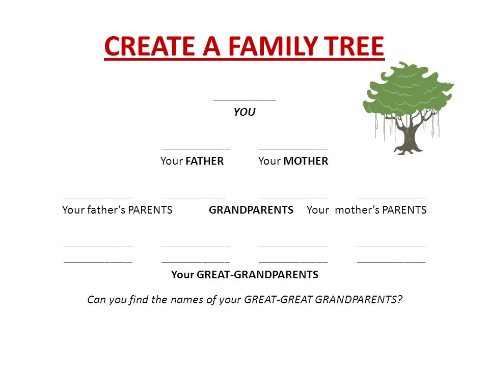 CREATE A FAMILY TREE ____________ YOU_____________ Your FATHERYour MOTHER ___________________________________________________ Your father's PARENTSGRANDPARENTSYour mother's PARENTS ____________________________________________________ Your GREAT-GRANDPARENTS Can you find the names of your GREAT-GREAT GRANDPARENTS