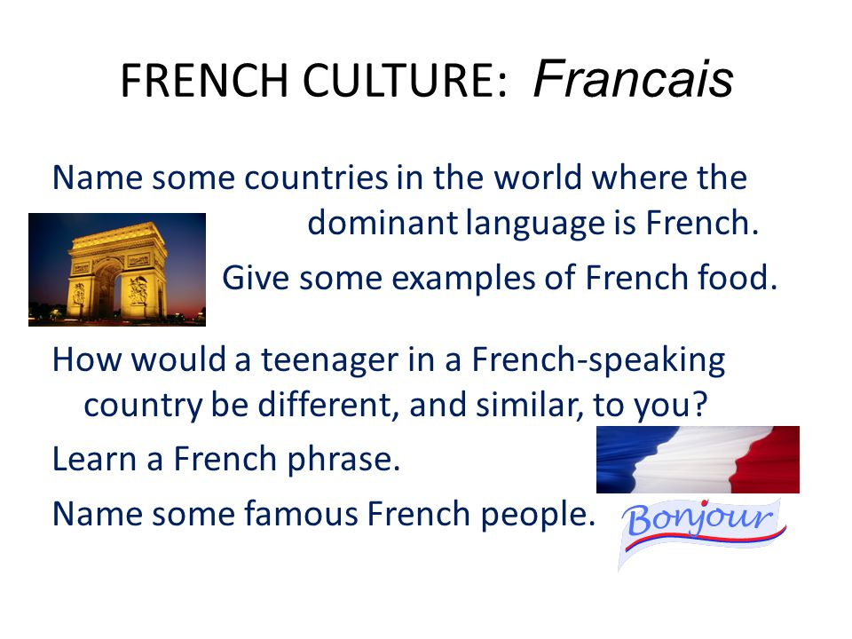 FRENCH CULTURE: Francais Name some countries in the world where the dominant language is French.