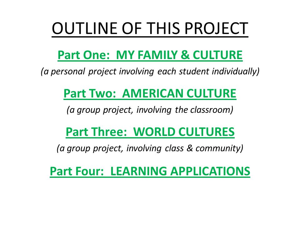 OUTLINE OF THIS PROJECT Part One: MY FAMILY & CULTURE (a personal project involving each student individually) Part Two: AMERICAN CULTURE (a group project, involving the classroom) Part Three: WORLD CULTURES (a group project, involving class & community) Part Four: LEARNING APPLICATIONS