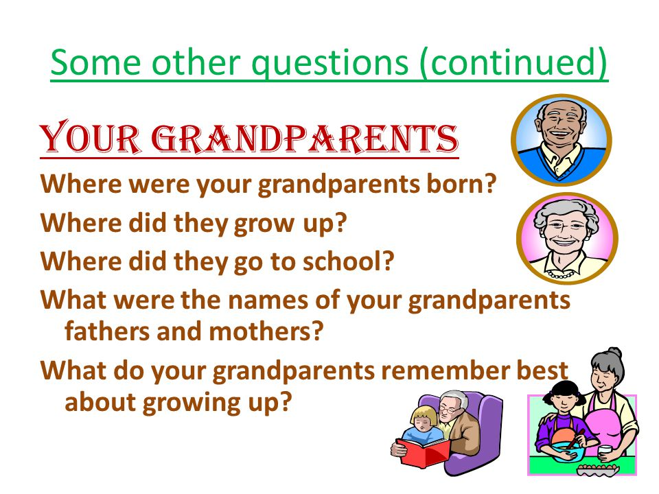 Some other questions (continued) YOUR GRANDPARENTS Where were your grandparents born.