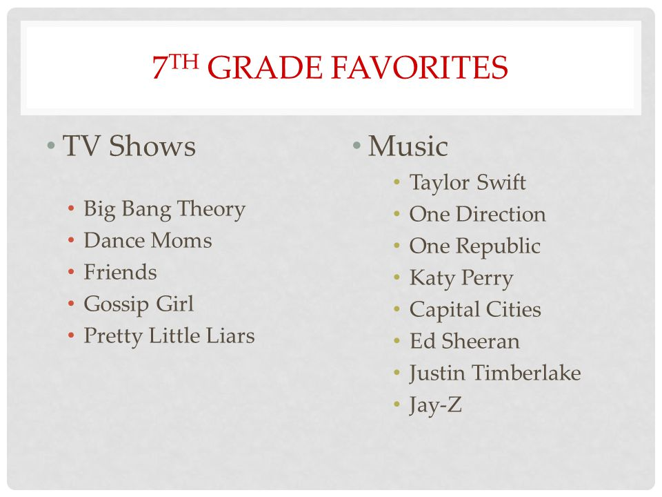 7 TH GRADE FAVORITES TV Shows Big Bang Theory Dance Moms Friends Gossip Girl Pretty Little Liars Music Taylor Swift One Direction One Republic Katy Perry Capital Cities Ed Sheeran Justin Timberlake Jay-Z