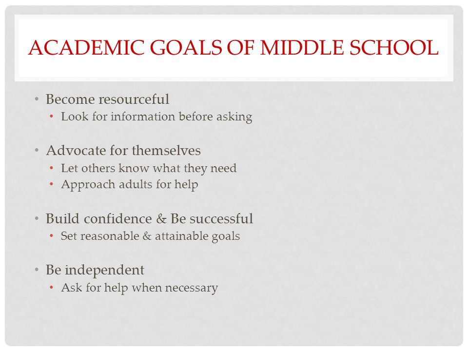 ACADEMIC GOALS OF MIDDLE SCHOOL Become resourceful Look for information before asking Advocate for themselves Let others know what they need Approach adults for help Build confidence & Be successful Set reasonable & attainable goals Be independent Ask for help when necessary