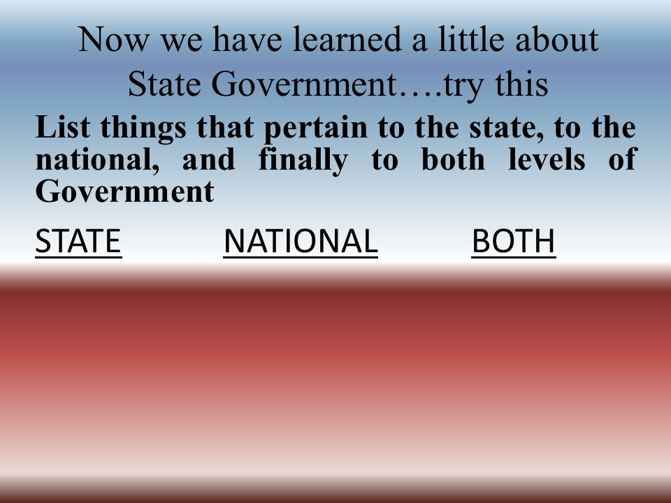 Now we have learned a little about State Government….try this List things that pertain to the state, to the national, and finally to both levels of Government STATE NATIONAL BOTH