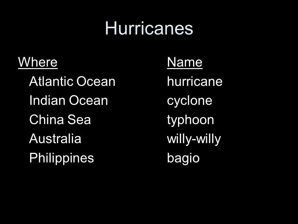 Hurricanes WhereName Atlantic Oceanhurricane Indian Oceancyclone China Seatyphoon Australiawilly-willy Philippinesbagio