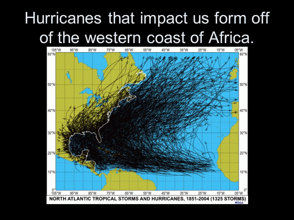 Hurricanes that impact us form off of the western coast of Africa.