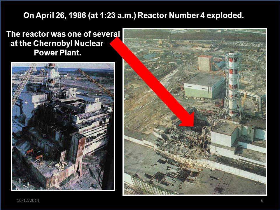 On April 26, 1986 (at 1:23 a.m.) Reactor Number 4 exploded. The reactor was one of several at the Chernobyl Nuclear Power Plant. 10/12/20146
