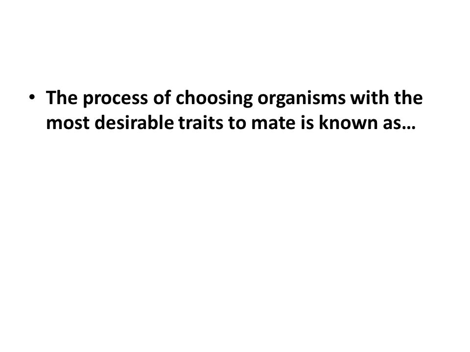 The process of choosing organisms with the most desirable traits to mate is known as…