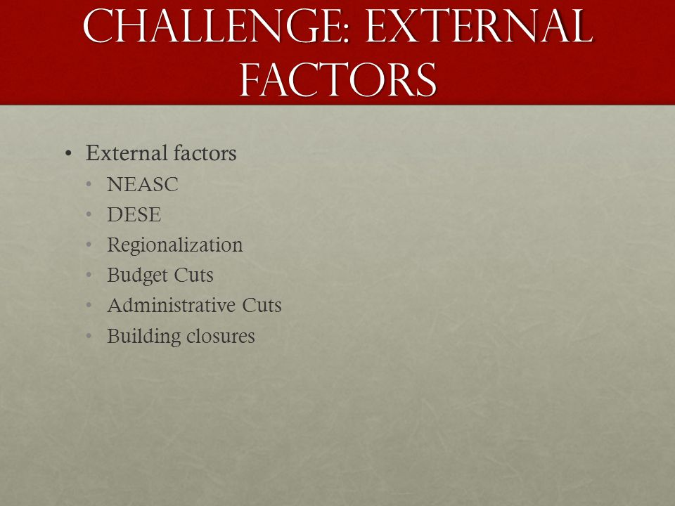 Challenge: External Factors External factors NEASC DESE Regionalization Budget Cuts Administrative Cuts Building closures