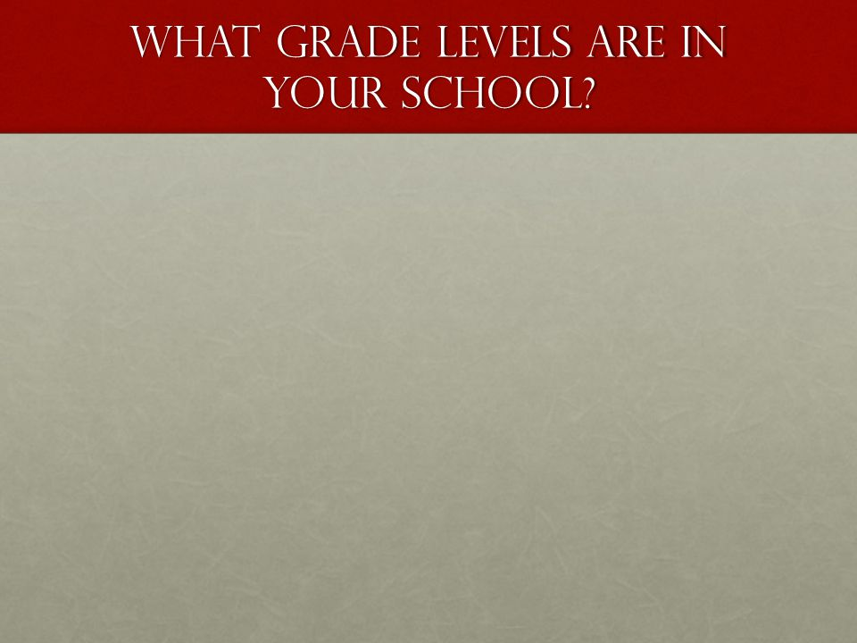 What Grade levels are in your school?