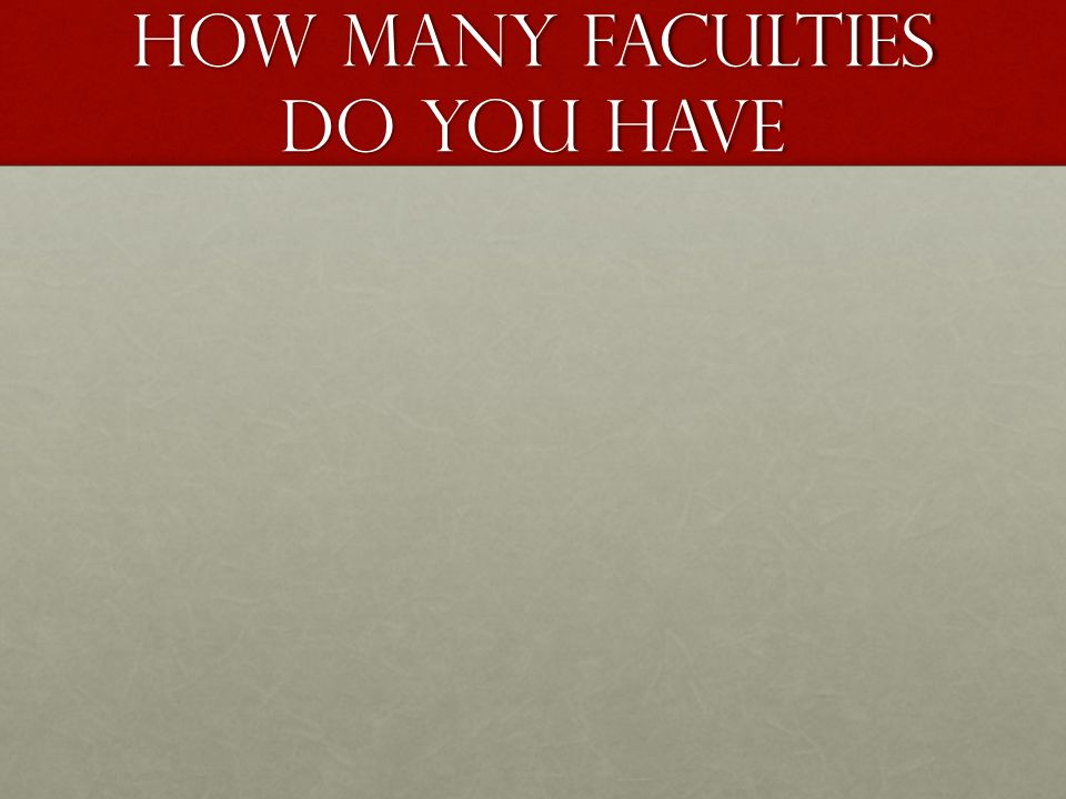 How many faculties do you have