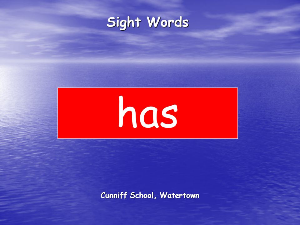 Cunniff School, Watertown Sight Words has