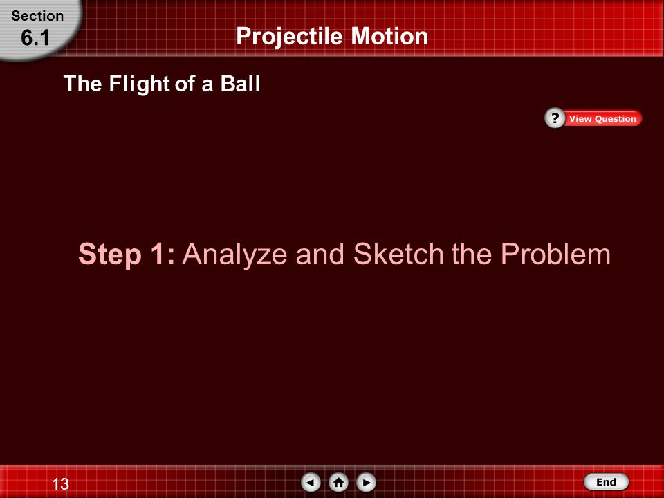 12 Projectile Motion The Flight of a Ball A ball is launched at 4.5 m/s at 66° above the horizontal.