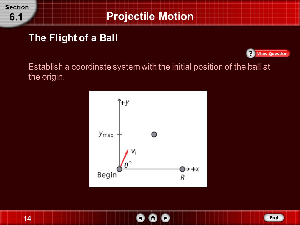 13 Step 1: Analyze and Sketch the Problem Projectile Motion The Flight of a Ball Section 6.1