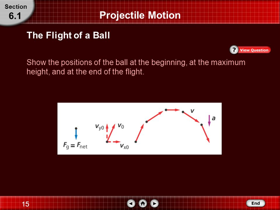 14 The Flight of a Ball Establish a coordinate system with the initial position of the ball at the origin.
