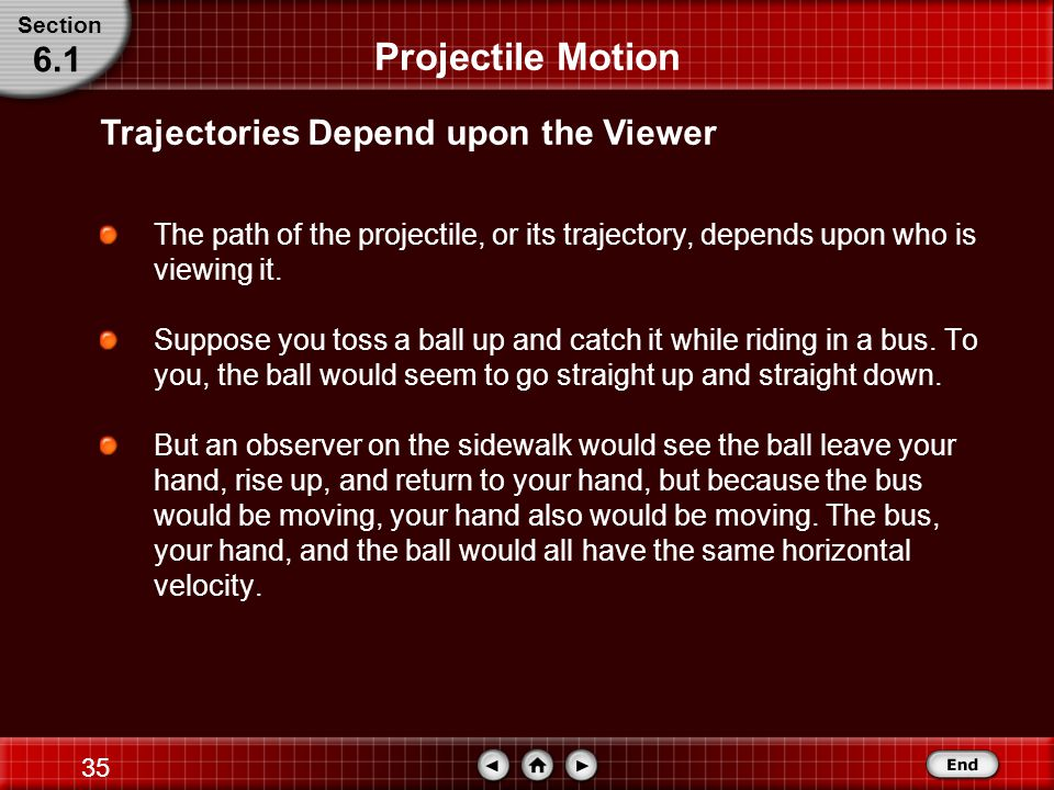34 The Flight of the Ball The steps covered were: Projectile Motion Step 2: Solve for the Unknown –Find the y-component of v i.