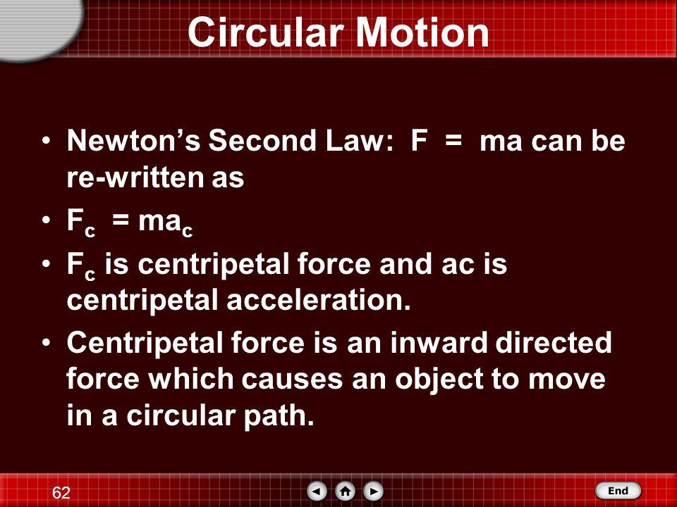 61 Circular Motion a c = v 2 / r a c = [(2 π r) / T] 2 / r a c = [(4 π 2 r 2 ) / T 2 ] / r a c = (4 π 2 r) / T 2