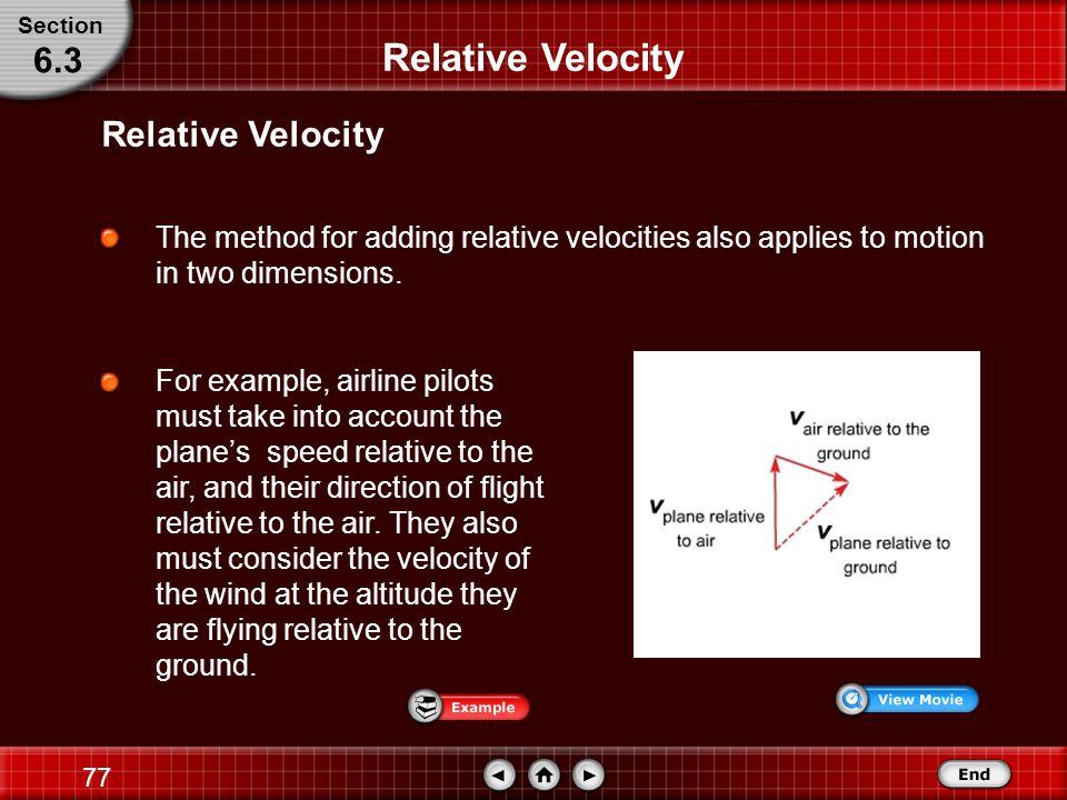76 Relative Velocity Mathematically, relative velocity is represented as v y/b + v b/r = v y/r.