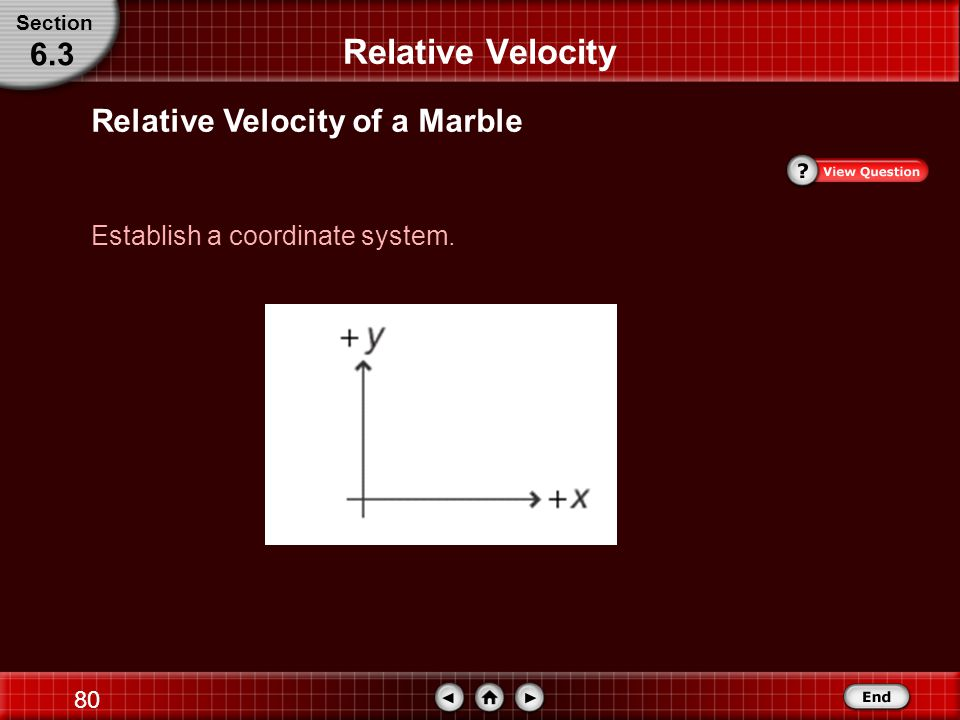 79 Step 1: Analyze and Sketch the Problem Relative Velocity Relative Velocity of a Marble Section 6.3