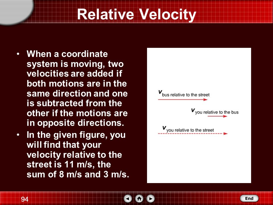 93 Relative Velocity When you are standing still, your velocity relative to the road is also 8 m/s, but your velocity relative to the bus is zero.
