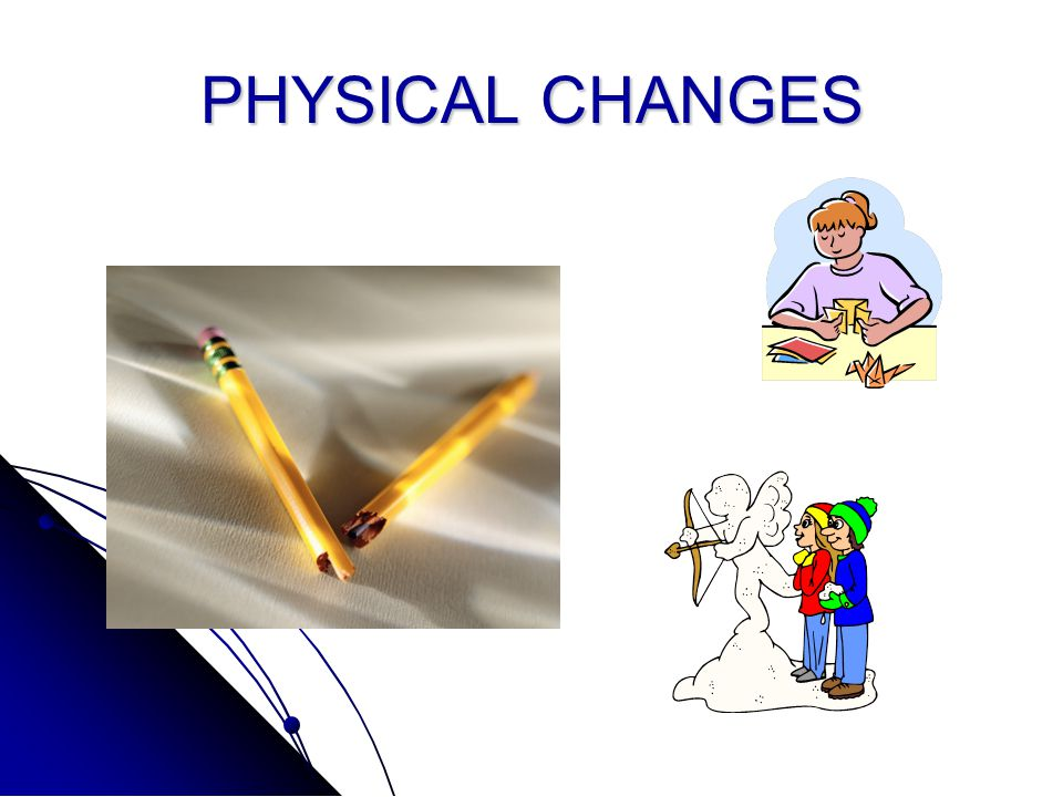 Physical changes in matter A Physical change is a change in how matter looks, but not the kind of matter is it is.