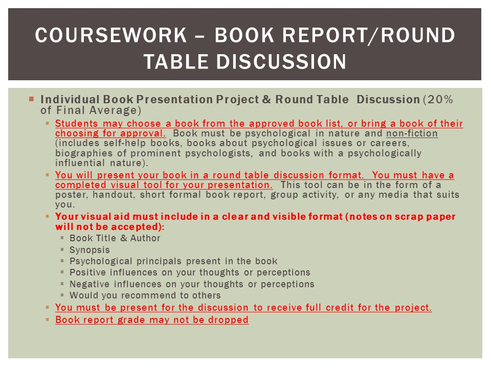  Individual Book Presentation Project & Round Table Discussion (20% of Final Average)  Students may choose a book from the approved book list, or br