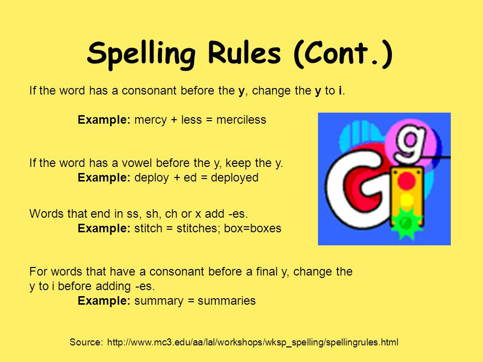 Spelling Rules (Cont.) If the word has a consonant before the y, change the y to i. Example: mercy + less = merciless If the word has a vowel before t