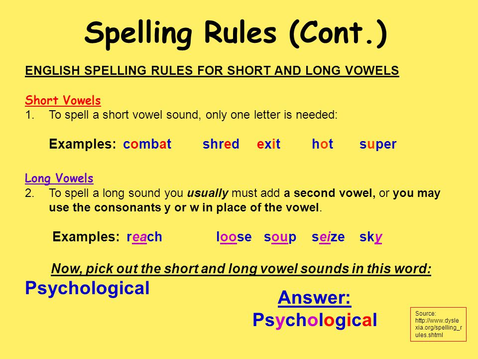 ENGLISH SPELLING RULES FOR SHORT AND LONG VOWELS Short Vowels 1.To spell a short vowel sound, only one letter is needed: Examples: combat shred exit hot super Long Vowels 2.To spell a long sound you usually must add a second vowel, or you may use the consonants y or w in place of the vowel.