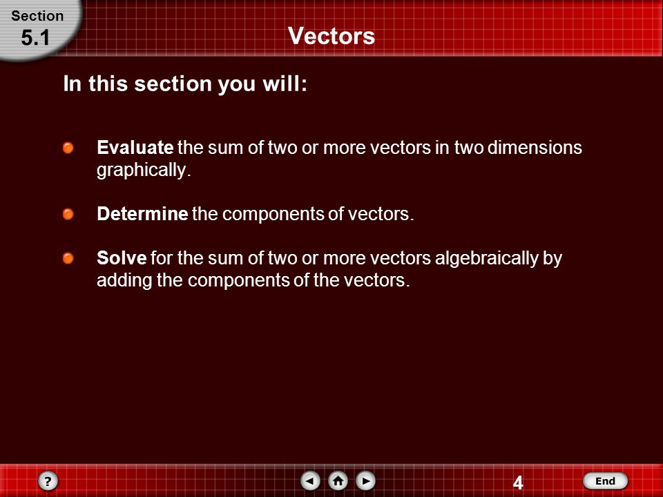 4 Vectors Evaluate the sum of two or more vectors in two dimensions graphically.